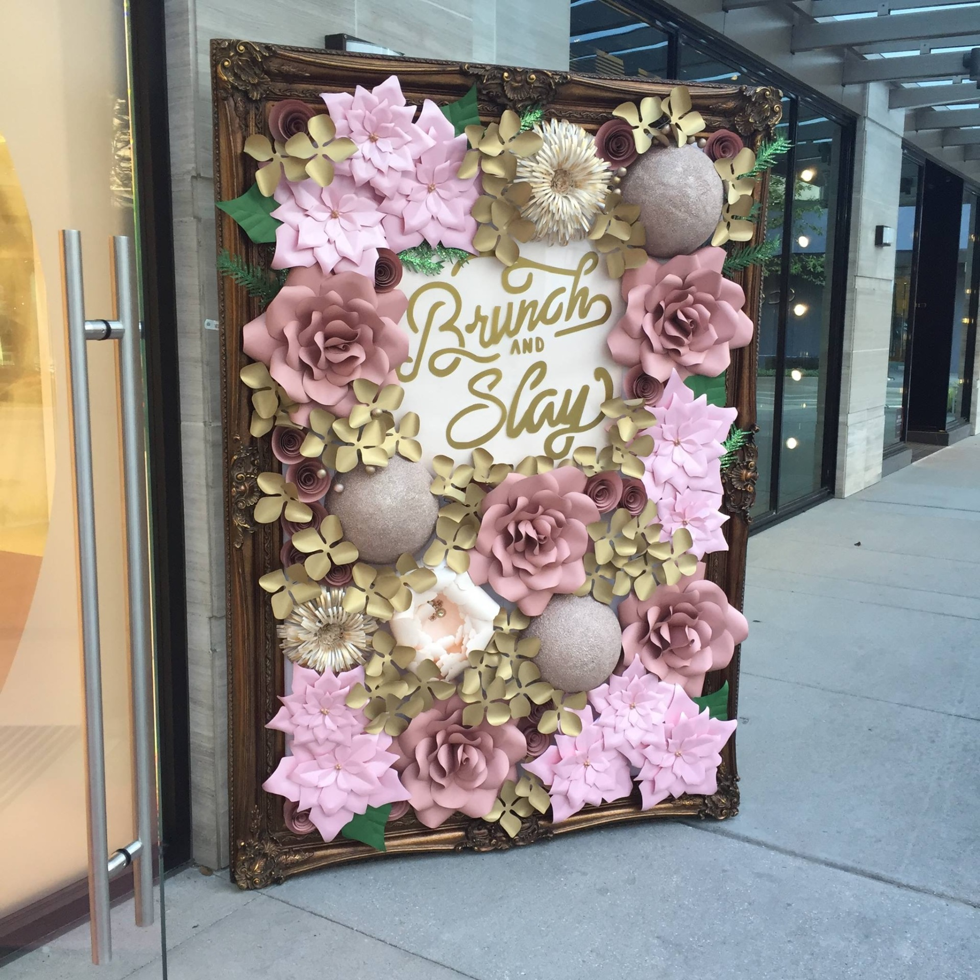 Store front decor. Bridal Store. Paper Flowers for Sale. Paper flower store front decor. Wedding. Houston wedding. Houston paper flowers. Sugar Land, TX. Houston, TX. Custom paper flowers. Special Event. Pink christmas. Custom Paper Flower wall. Framed paper flower wall. Exclusive.