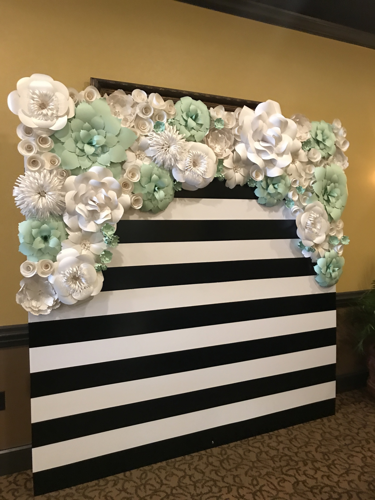 kate spade inspired. striped wall. baby shower backdrop. bridal shower backdrop. bridal shower. birthday party. graduation party. paper flower rental. houston paper flowers. Personalized backdrop. Paper flower wall. paper flower wall rental.