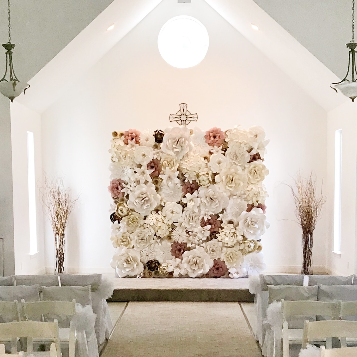 Wedding ceremony backdrop, altar, Houston Paper Flowers, Paper Flower wall rental, corporate event