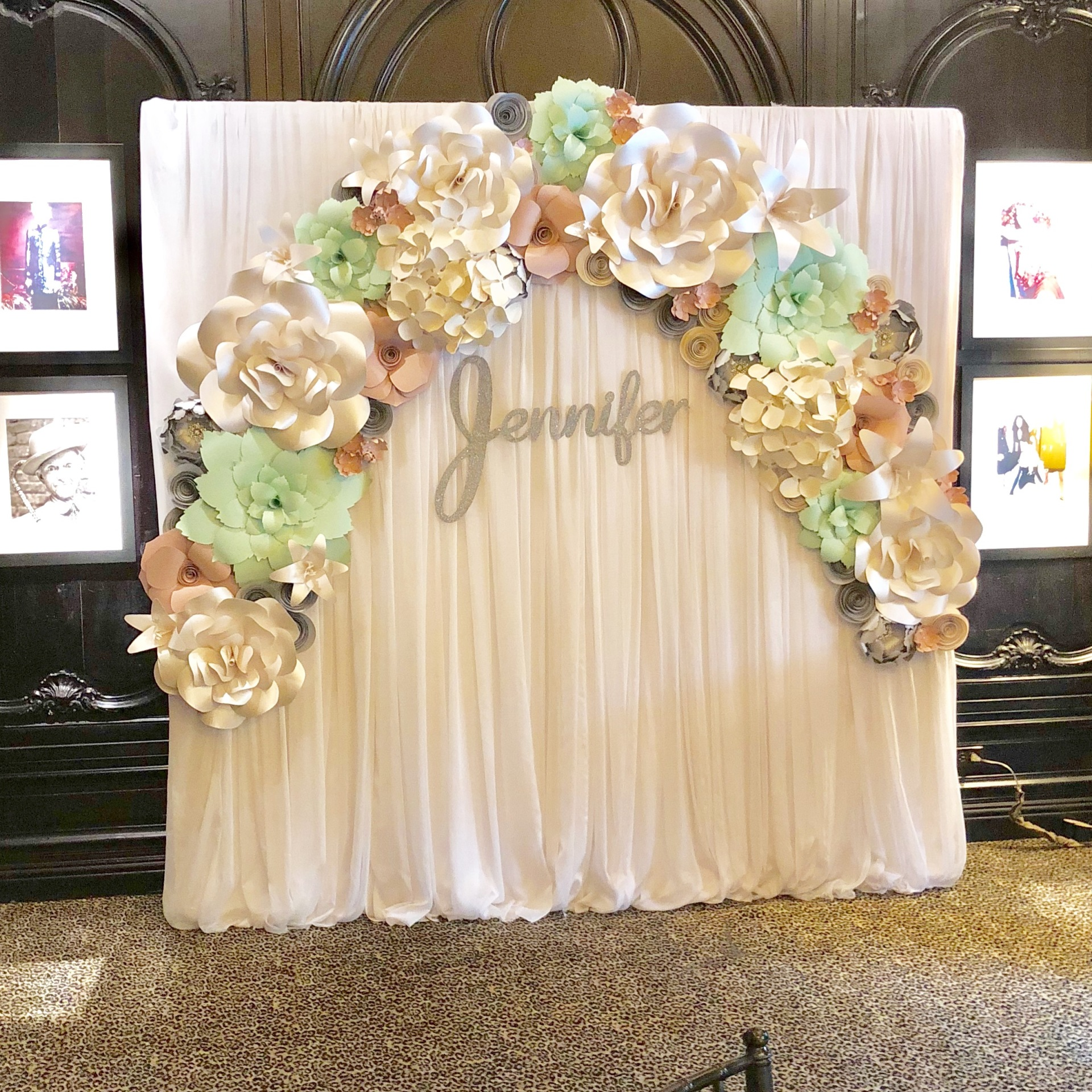 , sign in table, selfie station, Wedding ceremony backdrop, altar, Houston Paper Flowers, Paper Flower wall rental, corporate event