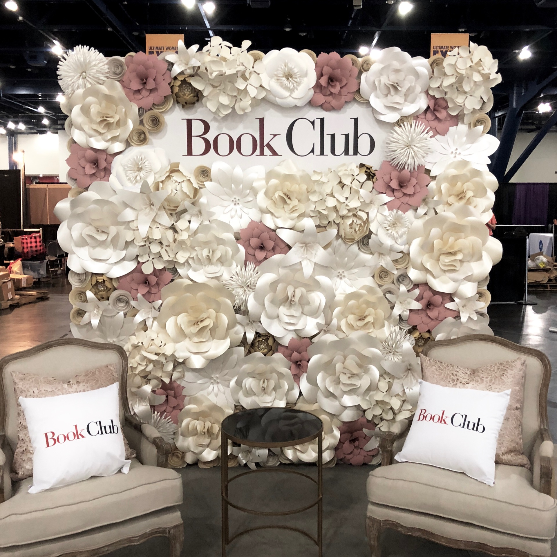 Welcome, entry decor, sign in table, selfie station, step and repeat, Wedding ceremony backdrop, altar, Houston Paper Flowers, product promotion, Paper Flower wall rental, corporate event